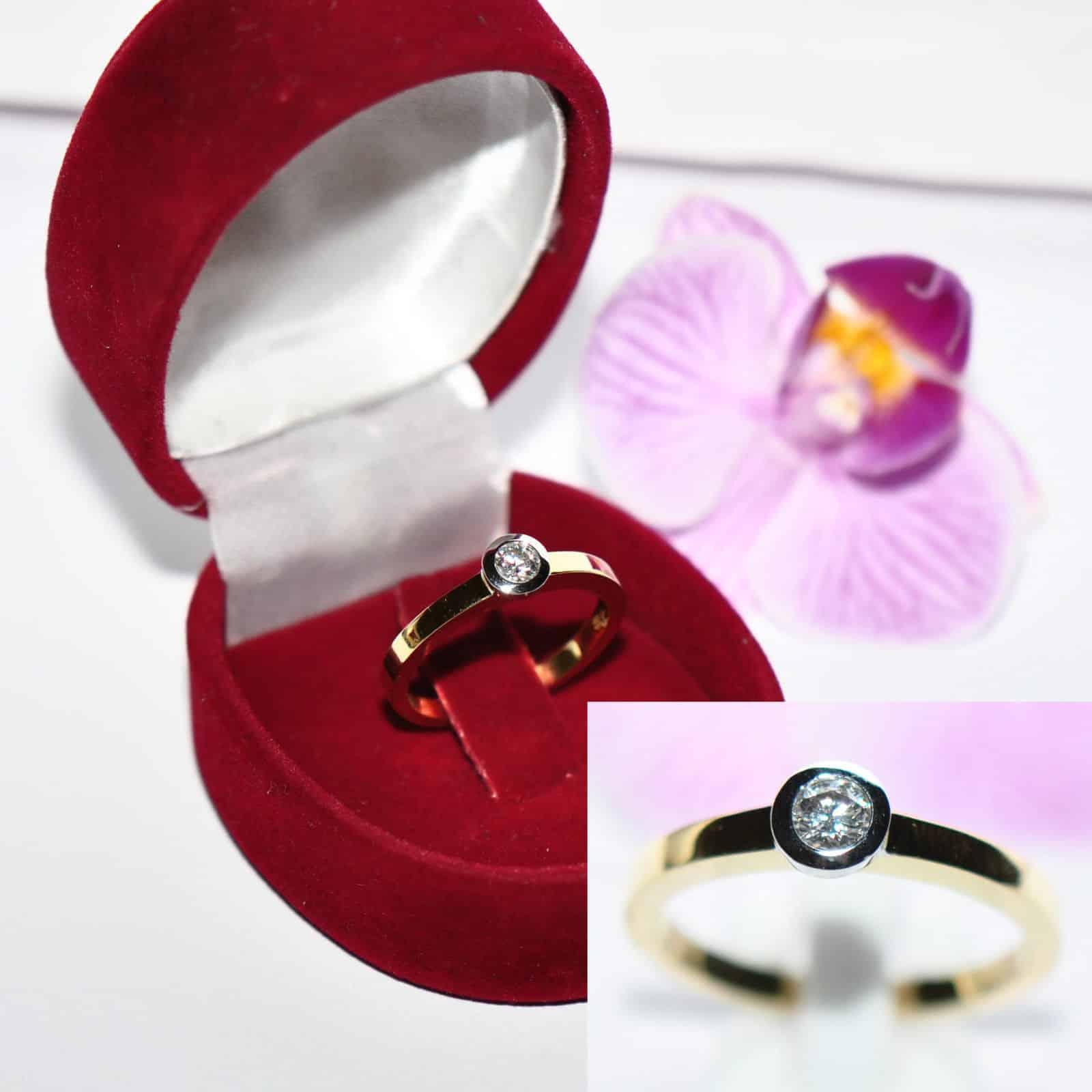neu eleganter 0 20ct brillant solit r 750er gold ring. Black Bedroom Furniture Sets. Home Design Ideas